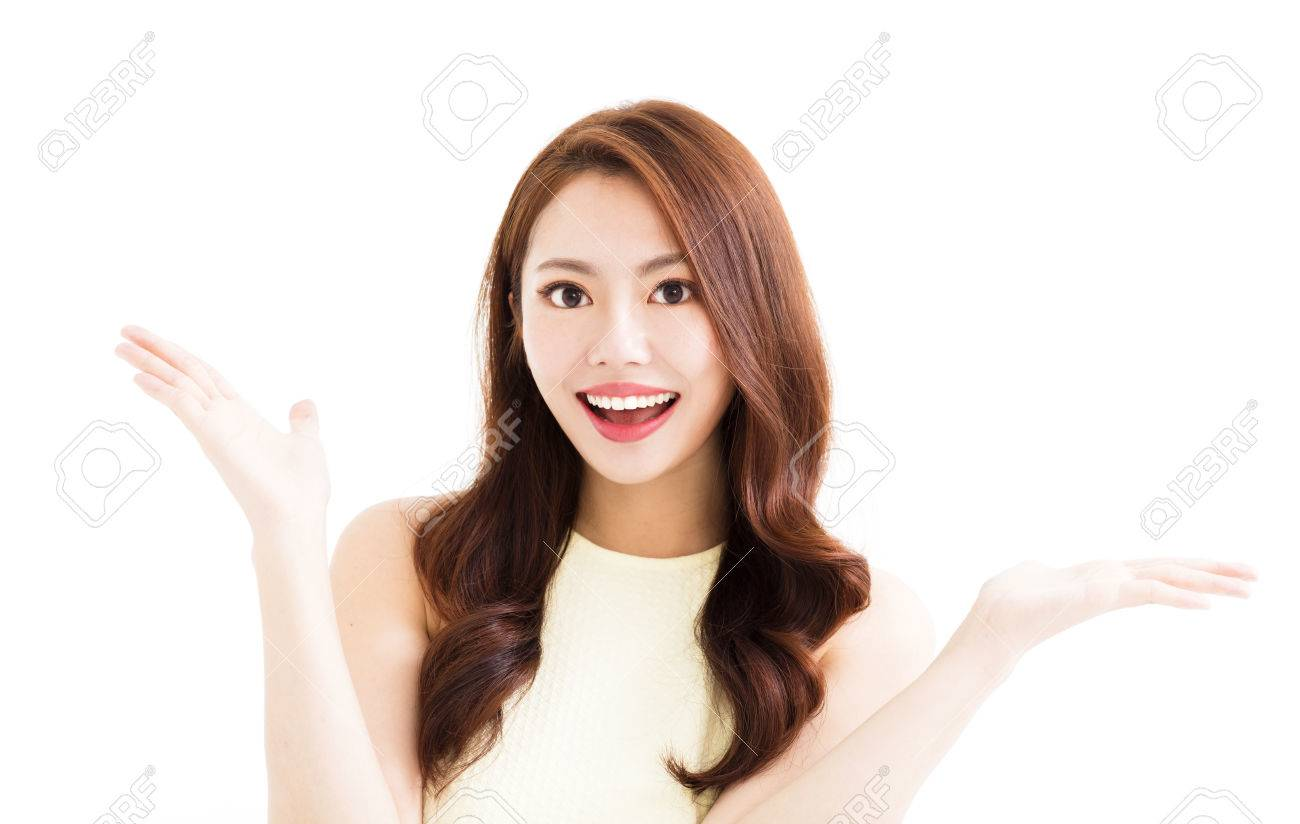 young smiling woman with showing gesture